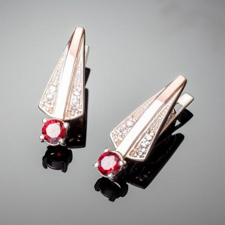 Серебряные серьги Грация (красный)