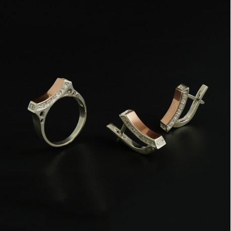 Набор серебряных украшений Ладочка с золотой пластиной