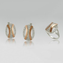 Серебряный гарнитур Моника - кольцо+серьги