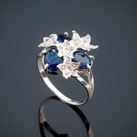 Колечко Букет из серебра (синий)