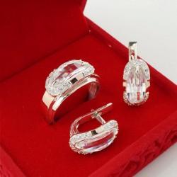 Серебряный набор Орфей с большим камнем (серьги+кольцо)