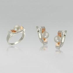 Набор серебряных украшений Жемчужина