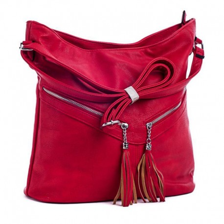 Вместительная сумка с кисточками (красный)