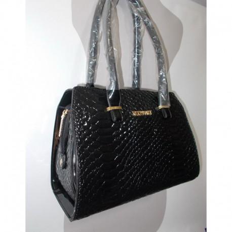 Лаковая сумка под рептилию черная