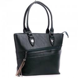 Женская сумка с карманом и кисточкой