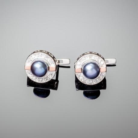 Серебряные серьги Каприз (черный)