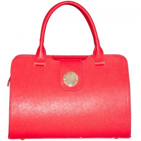 Бежевая сумка, классика (красный)