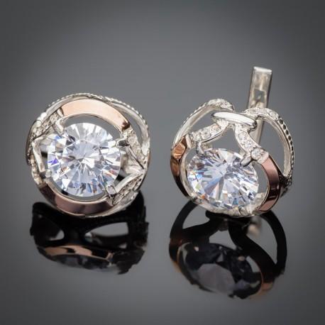 Серебряные серьги Анжелика (белый)