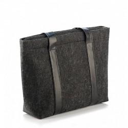Сумка-шоппер из войлока черная с вертикальной отделкой из эко-кожи