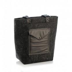 Стильная комбинированная сумка из войлока и эко-кожи, с большим карманом, черная