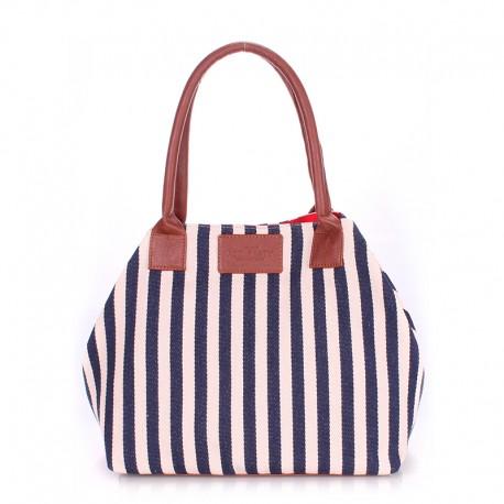 Котонновая сумка для пляжа в вертикальную синюю полоску