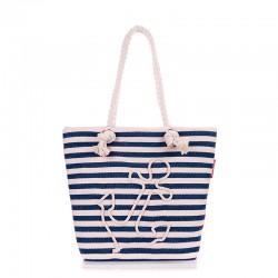 Пляжная сумка с якорем, в полоску