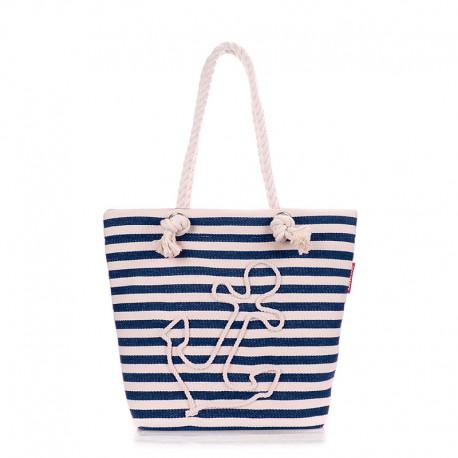 Пляжная сумка с якорем, в полоску (синяя)