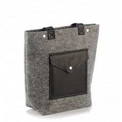 Стильная комбинированная сумка из войлока и эко-кожи, с большим карманом