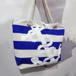 Летняя сумка в крупную сине-белую полоску