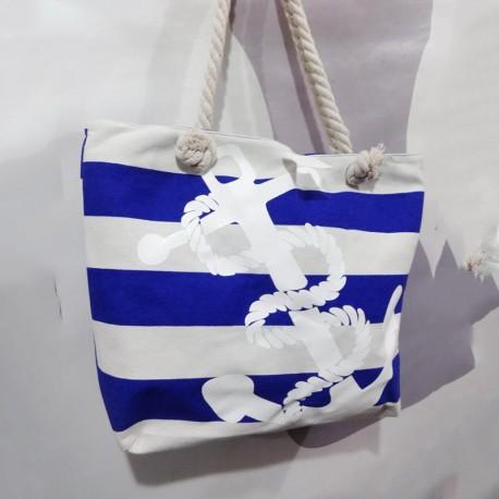 Летняя сумка в сине-белую полоску