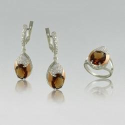 Серебряный набор украшений ТАЛА с крупными камнями