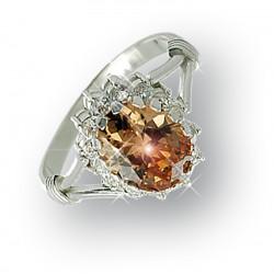 Кольцо из серебра №2629 (шампань)