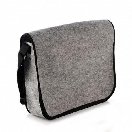 Большая войлочная сумка-почтальонка на ремне (серая)
