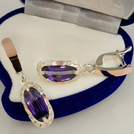 Серьги Орнела из серебра с золотом (фиолетовый)