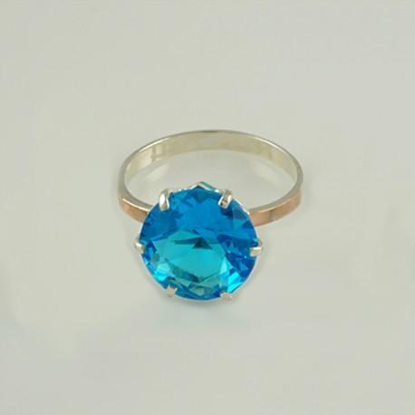 Серебряное кольцо Мажента (голубой)