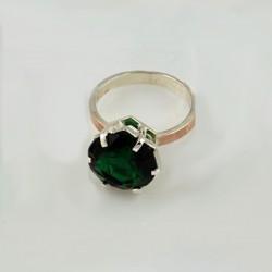 Серебряное кольцо Мажента (зеленый)