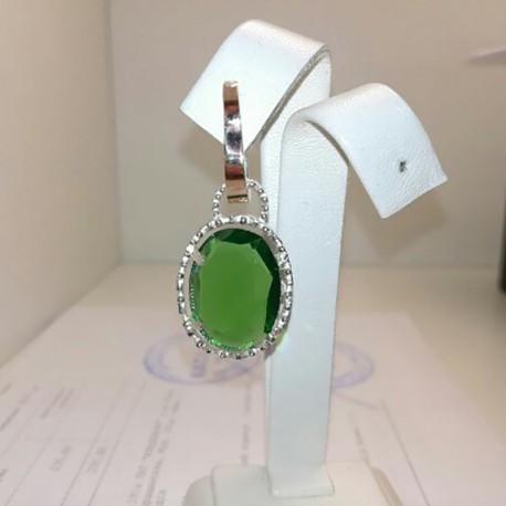 Серебряные серьги Кувшинки (зеленый)