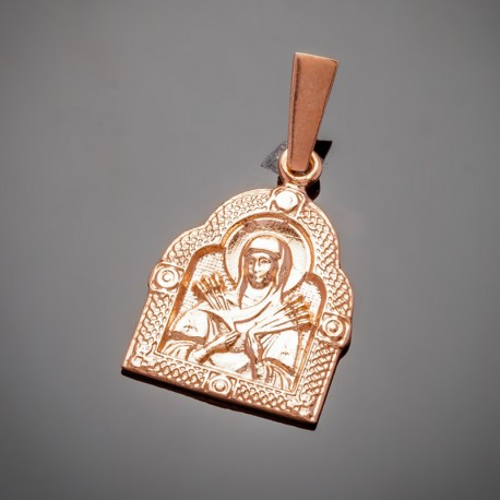 Серебряная иконка Семистрельной Богородицы (позолота)