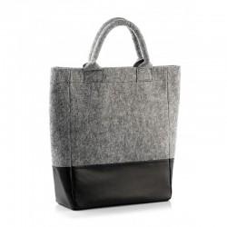 Комбинированная сумка из войлока и эко-кожи, на молнии (серая)