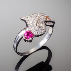 Серебряное кольцо Венеция (малиновый)
