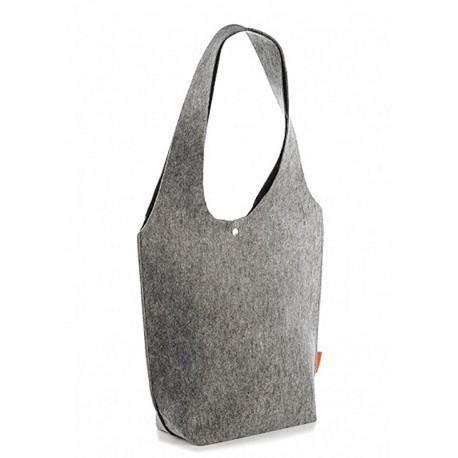 Высокая сумка-хобо из войлока с длинными ручками (серая)