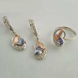 Серебряный набор МАРГАРИТА (кольцо и серьги)