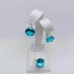 Монтерей - гарнитур из серебра (голубой)