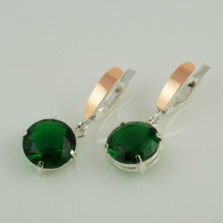 Серебряные серьги Франсуаза с камнем (зеленый)