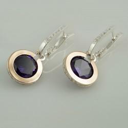 Серебряные серьги Королева (фиолетовый)