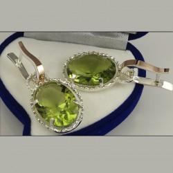 Серебряные серьги Кувшинки (оливковый)