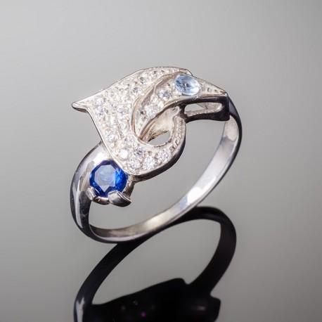 Серебряное кольцо Венеция (синий)