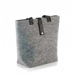 Войлочная сумка с ручками из эко-кожи (серая)