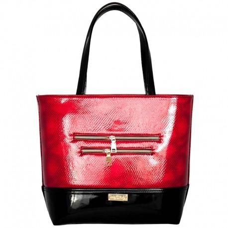 Двухцветная прямая сумка (красный)