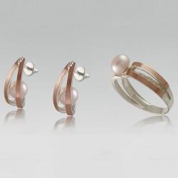 Женский серебряный набор украшений Белиссимо с жемчугом