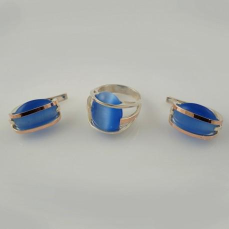 Набор серебряных украшений Миледи (синий)
