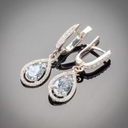 Серебряные сережки Катюша с подвесом-каплей
