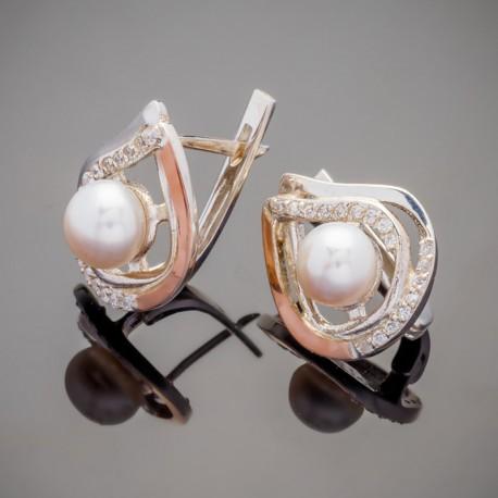 Серебряные сережки с жемчугом Элис