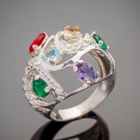 Серебряное кольцо Фантазия с камнями