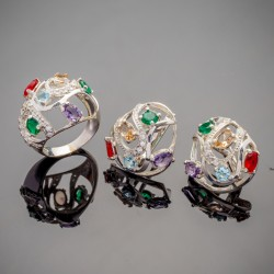 Летний комплект серебряных украшений Фантазия с камнями
