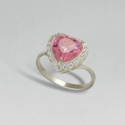 Серебряное колечко Сердце (розовый)