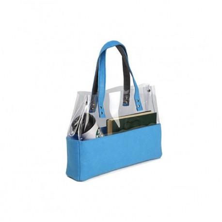 Прозрачная сумка с войлоком (голубой)