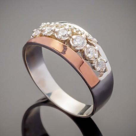 Серебряное кольцо Виола с золотом