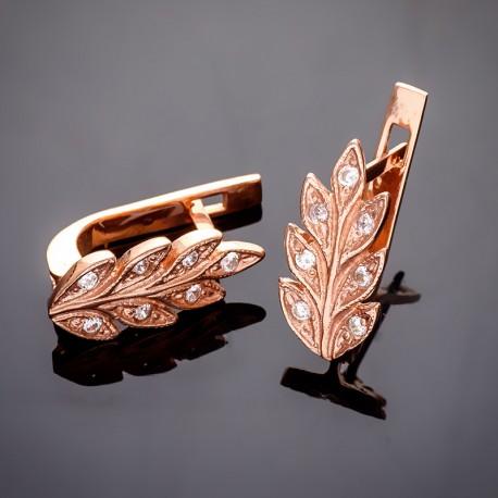 Серебряные серьги Колосок с позолотой
