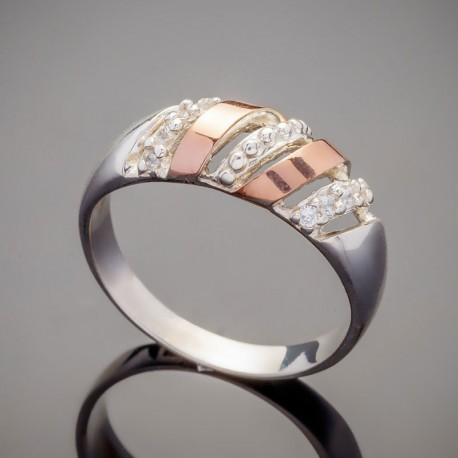 Серебряное кольцо Майя с золотом
